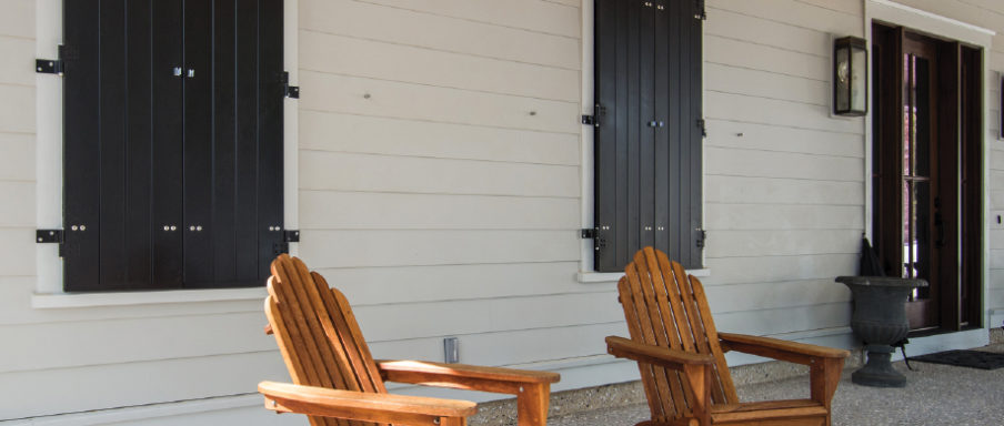 Board and Batten Storm-rated colonial shutters